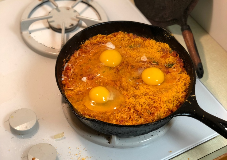Cheez Its and Eggs Top the Tomato Sauce