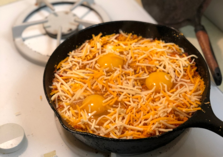 Shredded Cheese with Eggs & Cheez-It Powder