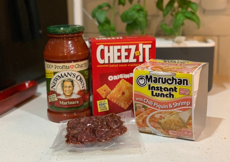 CY Ingredients: Marinara, Cheez-It, Maruchan Instant Lunch, Venison Sausage